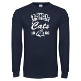 Navy Long Sleeve T Shirt-Thiel College Cats