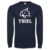 Navy Long Sleeve T Shirt-Mascot over Thiel