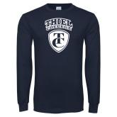 Navy Long Sleeve T Shirt-Thiel College TC Shield