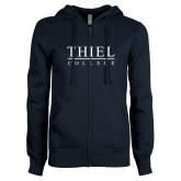 ENZA Ladies Navy Fleece Full Zip Hoodie-Thiel Logo
