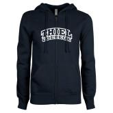 ENZA Ladies Navy Fleece Full Zip Hoodie-Athletic Logo