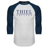 White/Navy Raglan Baseball T Shirt-Thiel Logo