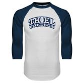 White/Navy Raglan Baseball T Shirt-Athletic Logo