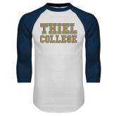 White/Navy Raglan Baseball T Shirt-Thiel College