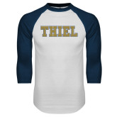 White/Navy Raglan Baseball T Shirt-Thiel College Block