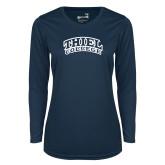 Ladies Syntrel Performance Navy Longsleeve Shirt-Athletic Logo