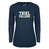 Ladies Syntrel Performance Navy Longsleeve Shirt-Thiel College
