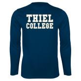 Performance Navy Longsleeve Shirt-Thiel College