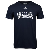 Adidas Climalite Navy Ultimate Performance Tee-Athletic Logo