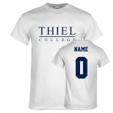White T Shirt-Thiel Logo, Custom Tee w/ Name and #