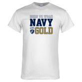 White T Shirt-Born to Wear Navy and Gold