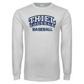 White Long Sleeve T Shirt-Baseball