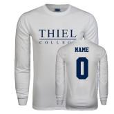 White Long Sleeve T Shirt-Thiel Logo, Custom Tee w/ Name and #