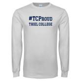 White Long Sleeve T Shirt-Hashtag TCProud