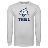 White Long Sleeve T Shirt-Mascot over Thiel