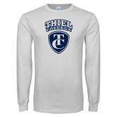 White Long Sleeve T Shirt-Thiel College TC Shield