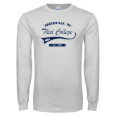 White Long Sleeve T Shirt-Thiel College Alpha Xi Delta