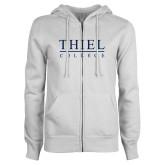 ENZA Ladies White Fleece Full Zip Hoodie-Thiel Logo