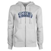 ENZA Ladies White Fleece Full Zip Hoodie-Athletic Logo