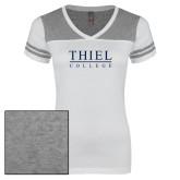 Ladies White/Heathered Grey Juniors Varsity V Neck Tee-Thiel Logo