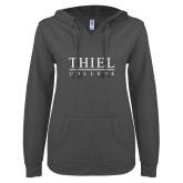 ENZA Ladies Dark Heather V Notch Raw Edge Fleece Hoodie-Thiel Logo