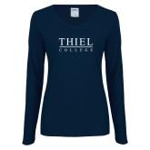 Ladies Navy Long Sleeve V Neck Tee-Thiel Logo