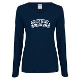 Ladies Navy Long Sleeve V Neck Tee-Athletic Logo