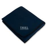 Navy Arctic Fleece Blanket-Thiel Logo