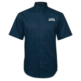 Navy Twill Button Down Short Sleeve-Athletic Logo