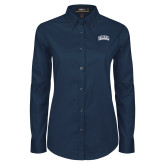 Ladies Navy Twill Button Down Long Sleeve-Athletic Logo