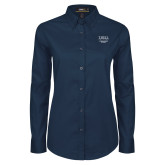 Ladies Navy Twill Button Down Long Sleeve-Lutheran Student Movement