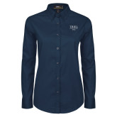 Ladies Navy Twill Button Down Long Sleeve-Pep Band