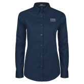 Ladies Navy Twill Button Down Long Sleeve-Psychology Club