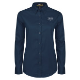 Ladies Navy Twill Button Down Long Sleeve-WXTC