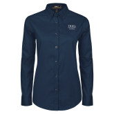 Ladies Navy Twill Button Down Long Sleeve-Flag Football