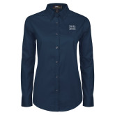 Ladies Navy Twill Button Down Long Sleeve-Greenville Junior Chamber of Commerce