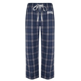 Navy/White Flannel Pajama Pant-Athletic Logo