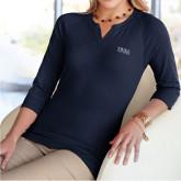 Ladies V Notch Navy 3/4 Sleeve Shirt-Thiel Logo