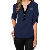 Ladies Posh Navy 3/4 Sleeve Blouse-Thiel Logo