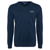 Classic Mens V Neck Navy Sweater-Thiel Logo