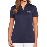 Ladies Callaway Tulip Sleeve Navy Zip Polo-Thiel Logo