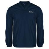 V Neck Navy Raglan Windshirt-Thiel Logo