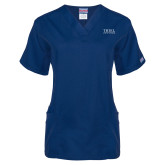 Ladies Navy Two Pocket V Neck Scrub Top-Thiel Logo