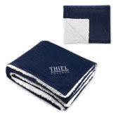 Super Soft Luxurious Navy Sherpa Throw Blanket-Thiel Logo