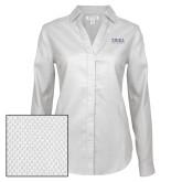 Ladies Red House Diamond Dobby White Long Sleeve Shirt-Thiel Logo