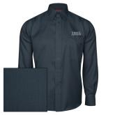 Red House Deep Blue Herringbone Long Sleeve Shirt-Thiel Logo