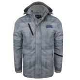 Grey Brushstroke Print Insulated Jacket-Athletic Logo