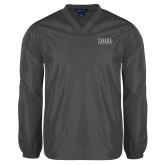V Neck Charcoal Raglan Windshirt-Thiel Logo