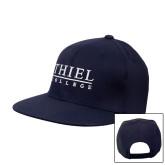 Navy Flat Bill Snapback Hat-Thiel Logo