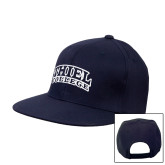 Navy Flat Bill Snapback Hat-Athletic Logo